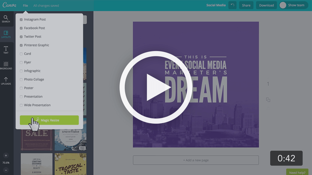 magic resize canva video