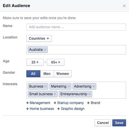 Options Available When Boosting a facebook post